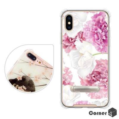 Corner4 iPhone XS / X 5.8吋四角防摔立架手機殼-薔薇