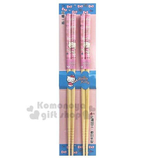 小禮堂 Hello Kitty 天然木筷子組《2入.粉.蝴蝶結》22.5cm.竹筷.環保筷.銅板小物