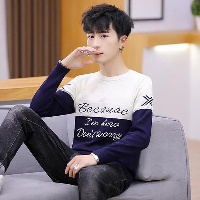 FOFU-(任選2件520)針織衫韓系百搭個性英文修身長袖毛衣針織衫【08B-B2017】