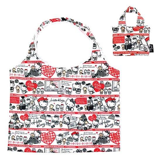 【領券折$30】小禮堂 Hello Kitty 折疊尼龍環保購物袋《黑紅.開車小熊》手提袋.環保袋