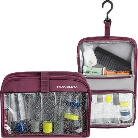 《TRAVELON》掛式盥洗包+分裝瓶罐6件組(紫)