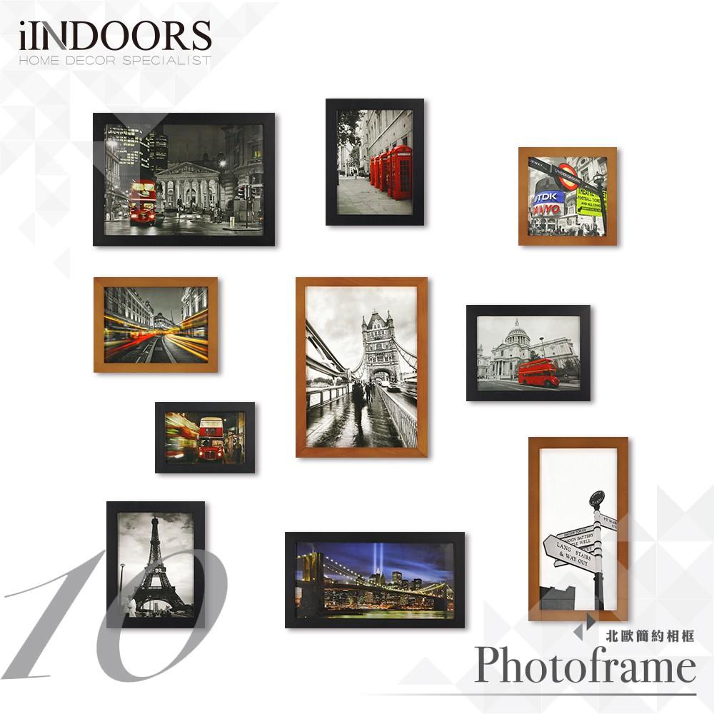 英倫家居 北歐相框牆 黑+柚木色10入大尺寸 送黏土風格圖卡 室內設計 餐廳 展場活動布置 實木畫框 裝飾照片牆