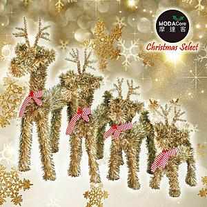 摩達客長腿霧金色聖誕小鹿家族擺飾 四入組合-12+16+20+24吋