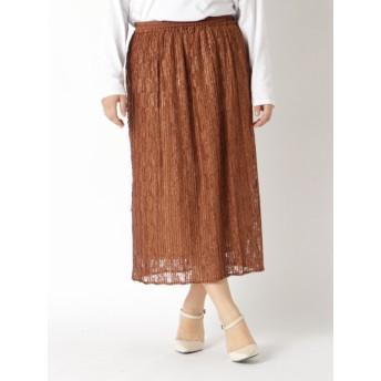 【大きいサイズレディース】【L-3L】プリーツレース素材スカート スカート ロングスカート