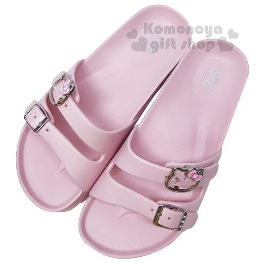 〔小禮堂〕Hello Kitty 金屬扣雙帶勃肯拖鞋《粉.大臉》涼鞋.海灘拖.外出拖