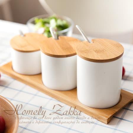 【Homely Zakka】美味食光淨白瓷竹蓋調味料三罐組 (階梯三尺寸款)