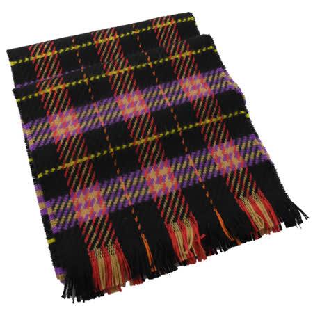 BURBERRY 英系格紋純羊毛針織流蘇長圍巾.紅