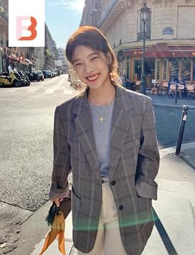 韓國空運 - Tarte wool check jacket  (size : free) 夾克