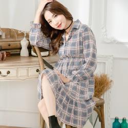 大尺碼-時尚格紋腰鬆緊式荷葉邊下擺襯衫領洋裝(共二色)lingling