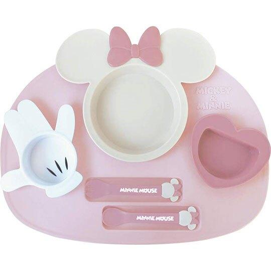 〔小禮堂〕迪士尼 米妮 日製兒童造型塑膠六件式餐具組《粉米.大臉》餐盤.叉匙.兒童餐具