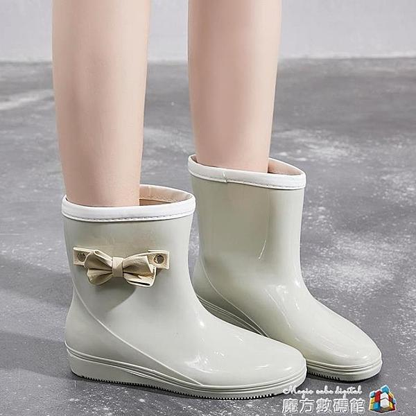 雨鞋女韓國可愛蝴蝶結水鞋雨靴中筒成人防水鞋防滑時尚款外穿 時尚