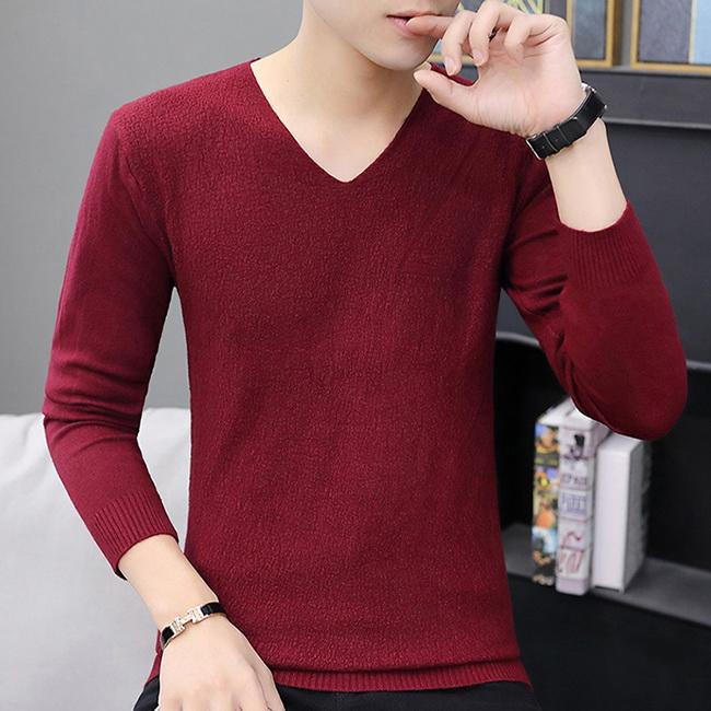 FOFU-針織衫韓版修身V領素面保暖毛衣針織衫【08B-B2020】