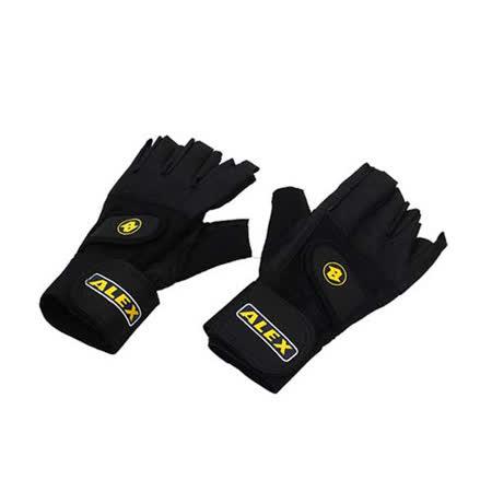 ALEX 皮革手套-健身 重量訓練 半指手套 台灣製造 黑