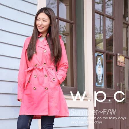 【w.p.c.】雙排釦連帽款。時尚雨衣/風衣(R1019)_桃紅