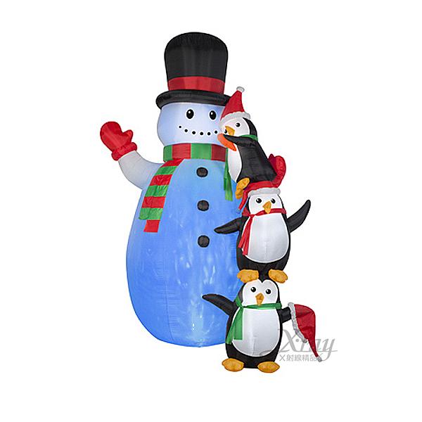 充氣12呎雪人企鵝,聖誕佈置/自動充氣擺飾/聖誕充氣/聖誕節/會場佈置【X007886】節慶王