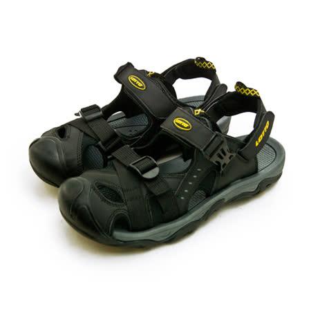 【男】LOTTO 專業護趾戶外運動涼鞋 水陸悍將系列 黑灰 0180