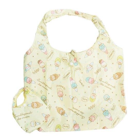 小禮堂 角落生物 折疊尼龍環保購物袋《黃.冰淇淋》手提袋.環保袋
