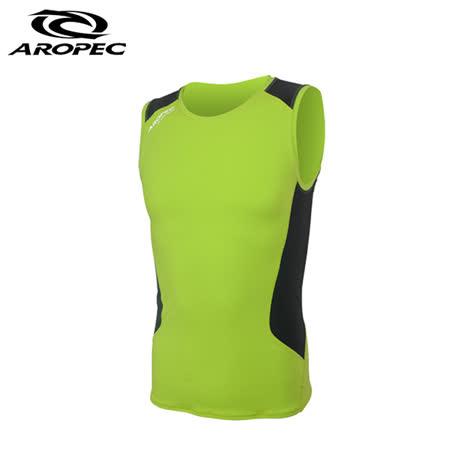 AROPEC Compression Sleeveless Top II 男款運動機能壓力衣 背心 萊姆綠/黑