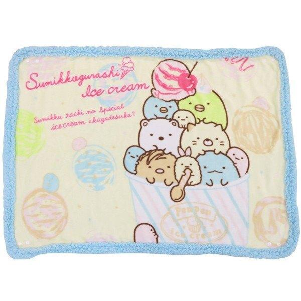 小禮堂 角落生物 圓角毛毯披肩《黃藍.冰淇淋》70x100cm.薄毯.單人毯