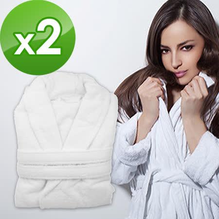 【法式寢飾花季】五星飯店款100%純棉舒柔保暖歐式浴袍x2件組