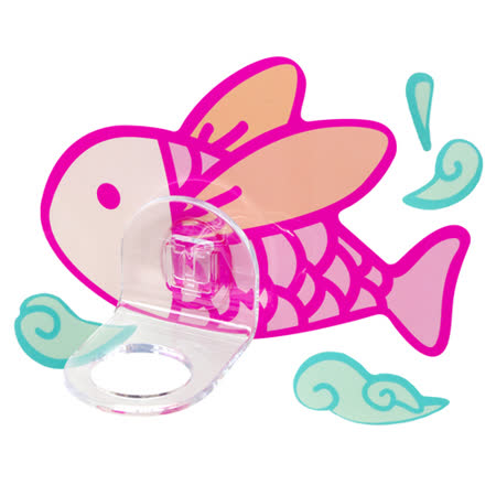(任選)【黏樂趣 NELO】多用途卡通造形沐浴固定座架重複貼掛勾組(飛魚)