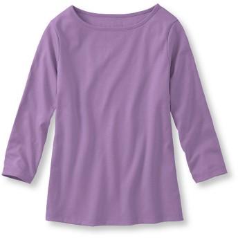 ピマ・コットン・シャツ、ボートネック 7分丈袖 無地/Pima Cotton Shirt, Boatneck Three-Quarter-Sleeve Solid
