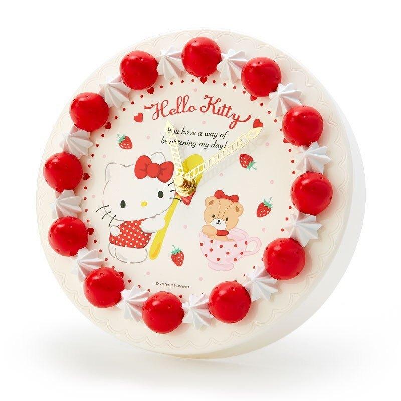 【領券折$30】小禮堂 Hello Kitty 草莓蛋糕造型圓形壁掛鐘《紅白》時鐘.桌鐘.造型鐘
