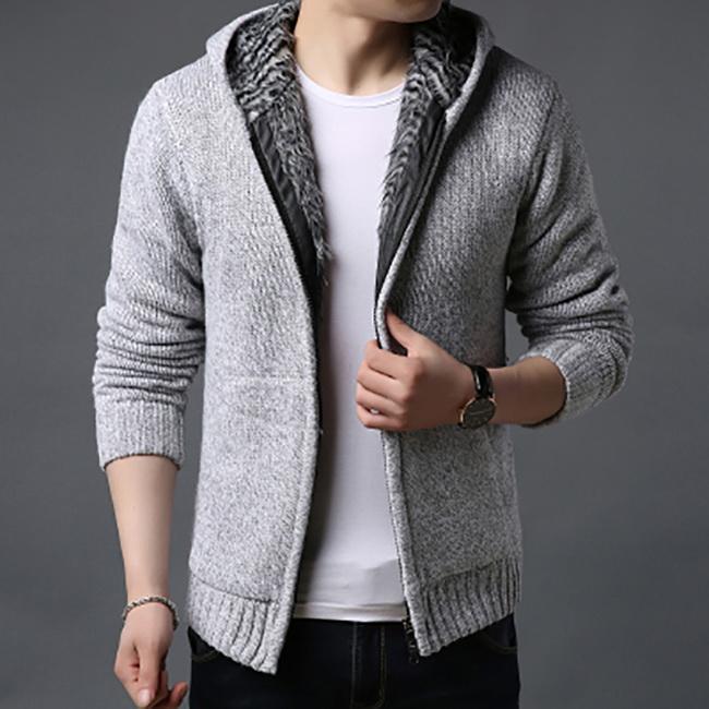 FOFU-針織外套加絨加厚休閒連帽針織外套【08B-F0712】