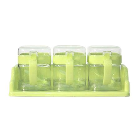 Artist 玻璃方型座式收納400ml調味罐3入組-粉綠色