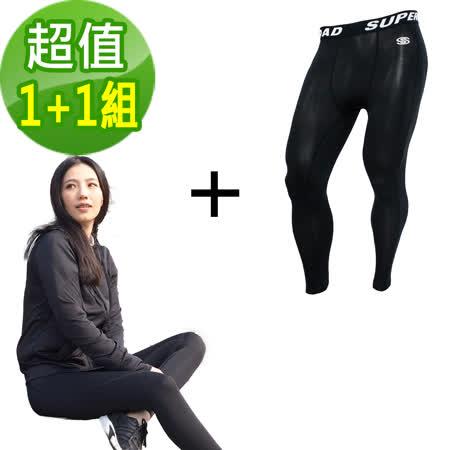 【日本熱銷】運動涼感抗UV外套+專業機能運動緊身褲 超值運動組合(1+1組)