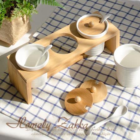 【Homely Zakka】美味食光波紋白瓷竹蓋調味料三罐組(波紋圓款)