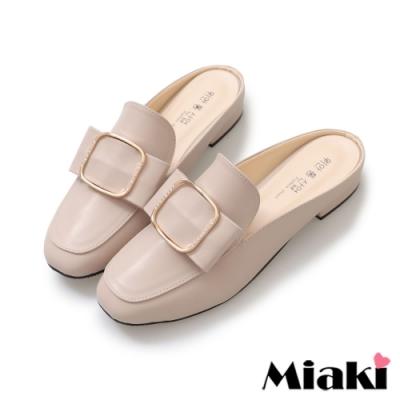 Miaki-穆勒鞋穿搭首選低跟包鞋-米皮
