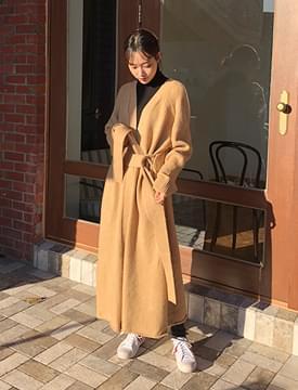 韓國空運 - Boucle long knit coat_H (size : free) 大衣外套