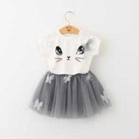 2019春夏の対外貿易の爆発モデル夏の女の子の半袖のスーツのかわいい猫のTシャツのポンポンの紗の短いスカートのカバーのスカート