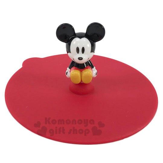 【領券折$30】小禮堂 迪士尼 米奇 立體造型矽膠杯蓋《紅.坐姿》直徑10cm.防漏杯蓋