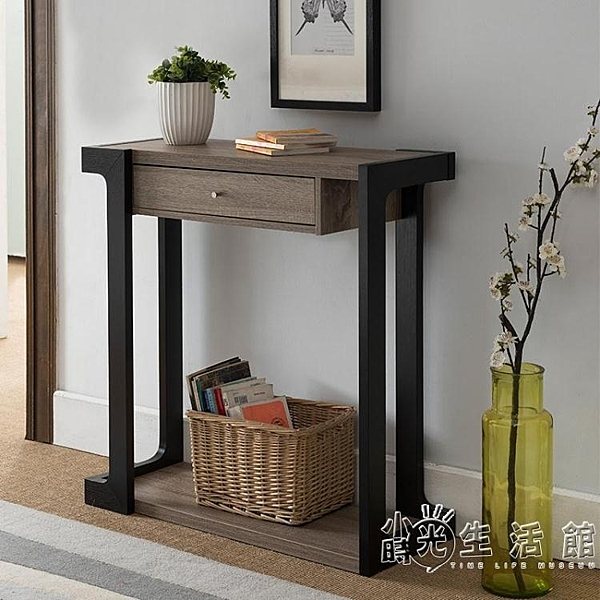 美式玄關桌現代簡約玄關台供桌供台玄關櫃置物架墻邊條案靠墻窄桌 WD 小時光生活館