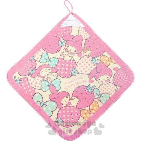 小禮堂 美樂蒂 可掛式棉質擦手巾《粉黃.草莓》34x34cm.毛巾