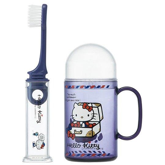 【領券折$30】小禮堂 Hello Kitty 杯裝旅行牙刷組《深紫.箱子裡》折疊牙刷.盥洗用品