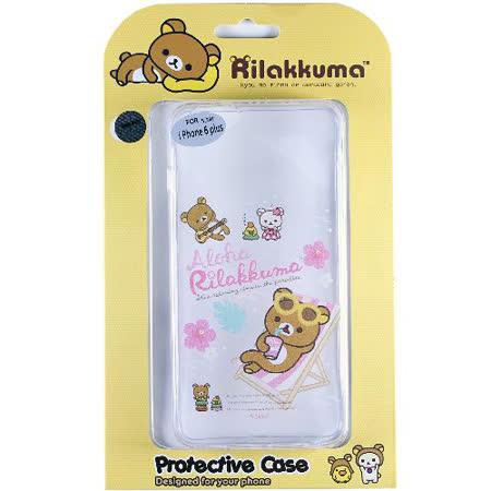Rilakkuma 拉拉熊/懶懶熊 Apple iPhone 6 Plus (5.5吋) 彩繪透明保護軟套-Fun Fun熊