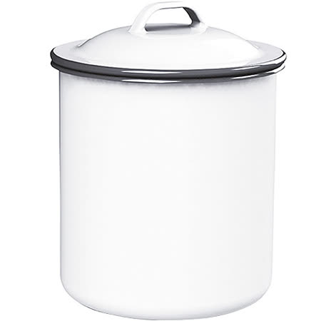 《KitchenCraft》復古琺瑯收納罐(白1000ml)