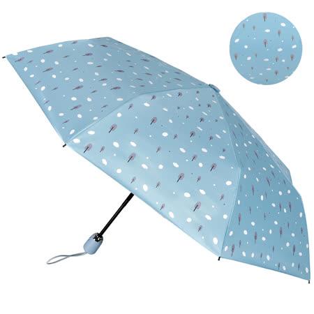 【2mm】100%遮光 趣味森林 黑膠降溫自動開收傘 (雲朵藍)