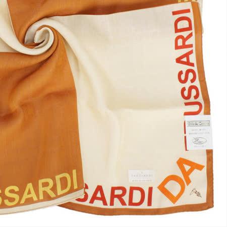 TRUSSARDI 字母飾邊雙色純棉帕巾-米/棕