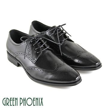 GREEN PHOENIX 波兒德 雷射雕花循環氣孔綁帶全真皮皮鞋 男鞋 T9-18285