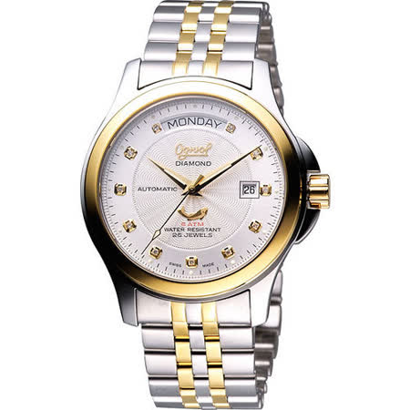 Ogival 愛其華 真鑽時尚 Day-Date 機械腕錶 銀白x半金  40mm 3353AJMS
