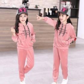 秋冬の新型子供のカシミヤの服の女性2019韓国版のファッション的な金糸の?のスーツのスポーツウェアの2つのセットの卸売り