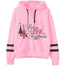 cheelot Women's Christmas Hoodie Floral Autumn Winter Blouse Sweatshirts 3 S