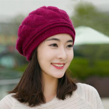 【幸福揚邑】棱紋小顏毛線帽雙層保暖護耳防風兔毛針織貝蕾帽-酒紅