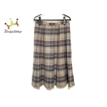 レリアン スカート サイズ13 L レディース 美品 ブラウン×ダークブラウン×ネイビー チェック柄 新着 20191128
