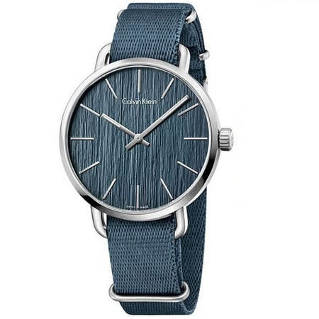 Calvin Klein 歐亞休閒風主義帆布優質時尚腕錶-灰藍-K7B211WL