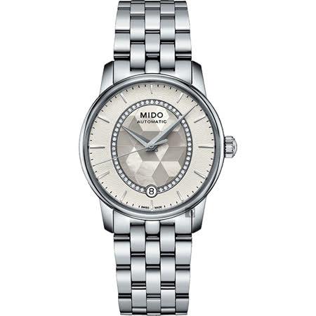MIDO美度 Baroncelli 永恆系列晶燦鑲鑽女錶-珍珠貝x銀/34mm M0072071111600